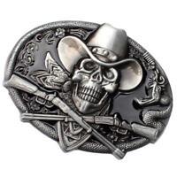 Skull Cowboy Oval Belt Buckle with Snake Biker Motorcycle Halloween Buckle