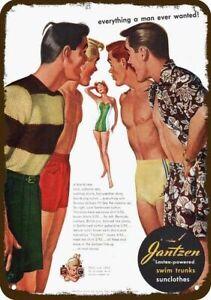 1950 JANTZEN SWIM TRUNKS Vintage Look DECORATIVE METAL SIGN - MEN & WOMAN RED-HE