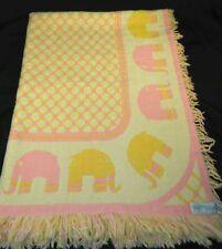 Bergdorf Goodman Elephant Reversible Baby Blanket Leonardo Looms 1971 Vintage