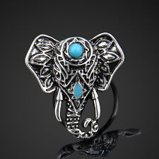 Newly Retro Unisex Tibetan Silver Turquoise Ring Adjustable Jewelry Animal Gifts