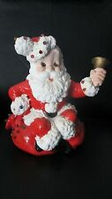 Vintage Atlanta Mold Santa Claus Bell Light Pegs Ceramic Not Electric Use Candle