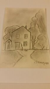 OLD UNFRAMED DRAWING SIGNED  L S  LOWRY 1956