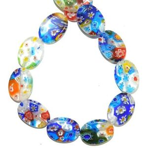 """G4481 Mosaic Multiple Color Flowers 18mm Flat Oval Millefiori Glass Beads 14"""""""