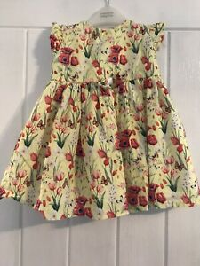 Kinder Collection Baby Girls Age 12-18 Months Yellow Floral Poppy Dress