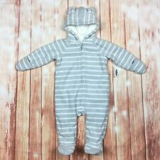 Old Navy Infant Coverall Fleece Sherpa Lined Bunting Suit Bear Ear Hood Striped