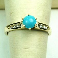 14K solid white or yellow gold 5mm sleeping beauty Turqouise ring