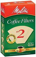 Melitta Super Premium #2 Cone Paper Coffee Filter Natural Brown, 100 Count