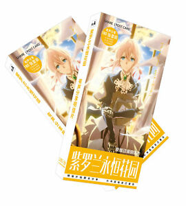 Anime 30pcs/set violet evergarden postcard+120pcs/set min paster sticker
