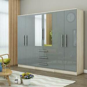 Large 6 door high gloss mirrored wardrobe - Grey,- 3 Drawers