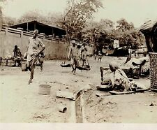 1955 Vintage Photo peasants use water stream for cleaning in streets of India