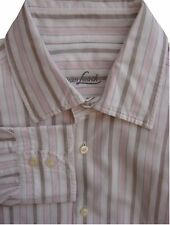 VAN LAACK Shirt Mens 16.5 L White Brown & Pink Stripes