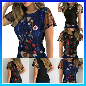 Women Print Casual Sheer Fashion Fine Elegant Blouses