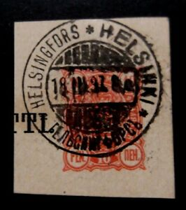 Finland-1897-10p Red Stationary Cut out-Used-Helsinki