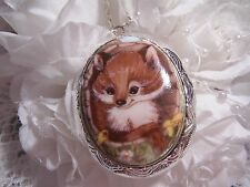 CHRISTMAS FOX KIT BABY PORCELAIN LOCKET MEMORY NECKLACE SILVER GOLD PENDANT