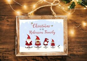 A4 Personalised Family Gnomes Print Stocking Filler Gift  Christmas Decoration