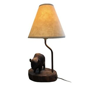 "Beautiful VINTAGE Bison Buffalo Wood & Metal Desk Lamp 16"" NICE!"