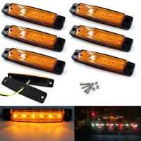 6x Amber 6 LED Side Marker Indicator Clearance Light Lamp Car Truck Trailer 12V