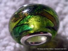 1 green stained glass European charm bracelet bead murano lampwork silver foil