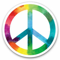 2 x Vinyl Stickers 7.5cm - Tie Dye Peace Symbol Hippy Cool Gift #8057