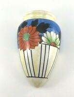 Yellow Lustre Floral HAND PAINTED Japan Wall Pocket - Hotta Yu 20s - 40s