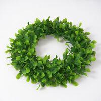 "Premium Round 16.5"" Boxwood Wreath for Front Door Artificial Greenery Wreath"