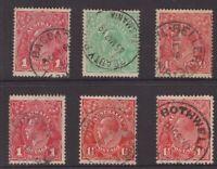 Tasmania postmark selection on KGV x 6 all start with B