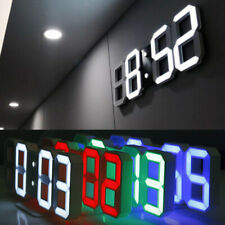 Digital 3D Modern LED Wall Clock Alarm Snooze Timer 12/24 Hour Clock Night Light