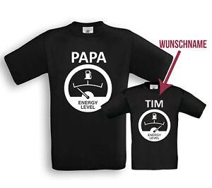 Papa + Sohn (Wunschname) Energy Level - Partner Shirts Vater + Sohn Geburt Taufe