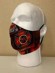 2 Mask Pack Firefighter - Fire Department  Handmade Face Mask Washable Re-Usable