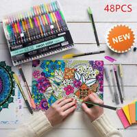 48Gel Pen Set Metallic Pastel Glitter Neon Gel Pens For Adult Colouring Book UK