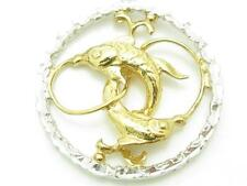 Yellow Gold Sterling Silver Diamond Cut Pisces Zodiac Design Charm Necklace New
