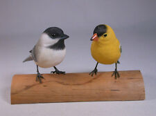 Chickadee & Goldfinch-Original Bird Carving/Birdhug