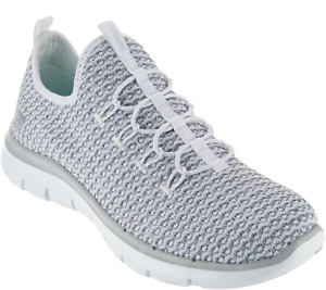 Skechers Multi Knit Slip-On Bungee Sneakers Visions Gray Sz 7 8 EUC