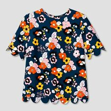 Women's Dark Floral Scallop Trim Top Victoria Beckham Target M ONLINE EXCLUSIVE