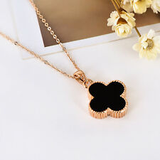 18K Rose Gold GF 15mm Crystal Clover Lucky Flower Pendant Necklace Chain Gift