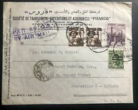 1953 Alexandria Egypt Commercial Airmail Cover To Evansville IN USA