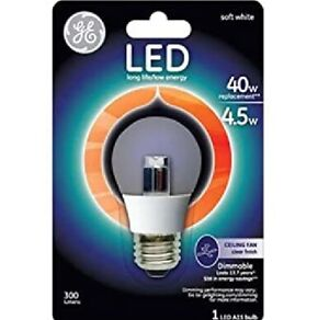 GE LED A15 4W Replaces 40W Ceiling Fan Clear Bulb P/N 37933 Dimmable 300 Lumens