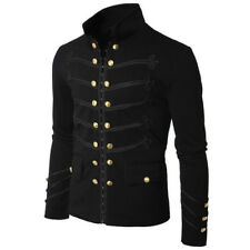 Men's Gothic Military Parade Jacket Tunic Rock Black Steampunk Army Coat