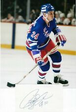 Pierre Larouche New York Rangers Autographed 3x5 Index Card With Rangers Photo