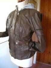 Ladies NEXT real leather JACKET UK 20 18 biker hoody bomber brown aviator hood