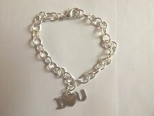 bracelet argenté 20,5 cm I love you