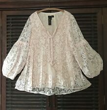 L EXQUISITE Blush Crochet Lace Peasant Top Blouse Lined Bell Sleeves