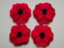 4 X  FELT POPPIES TO ASSEMBLE - CRAFTS- DONATION TO ROYAL  BRITISH LEGION