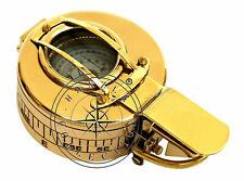 "3"" Maritime Polished Brass Nautical British Prismatic Military Pocket Compass"