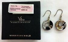 HAND MADE MURANO GLASS VENETIAURUM EARRINGS .925   RETAIL $300 MWT MIB
