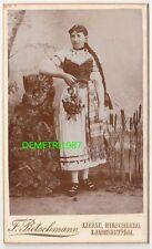 CdV Foto junge Frau mit langen Zopf in Tracht um 1890 Liebau Schlesien ! (F803