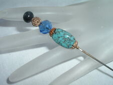 Vintage Turquoise Cobalt Blue Art Glass Gold Accents Hat Pin - Gorgeous!