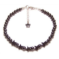 Magnetic Hematite Sterling silver bracelet Star design gemstone gem stone grey