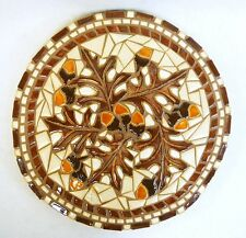 "OAK LEAVES & ACORNS  Mosaic Ceramic Tile Handmade Art Wall Decor / Trivet 11"""