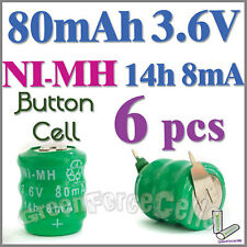 6 x Ni-MH 80mAh 3.6V button Rechargeable Battery w/ tab